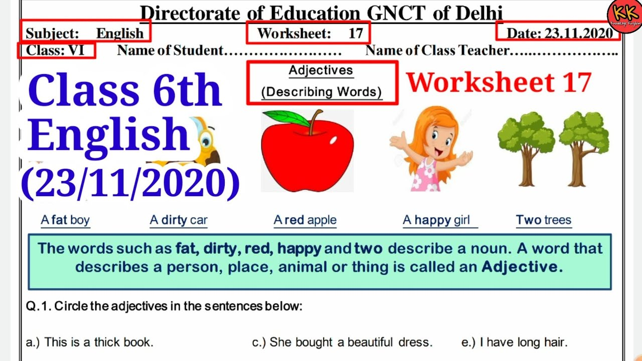 hight resolution of DOE Worksheet 17 Class 6th English (23/11/2020) Adjectives Describing Words  Knowledge Kingdom - YouTube