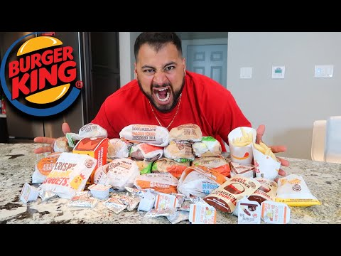 ENTIRE BURGER KING MENU IN 10 MIN CHALLENGE!!