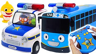 The villains are running away! Let's go Pororo & Tayo Police Car~!   PinkyPopTOY