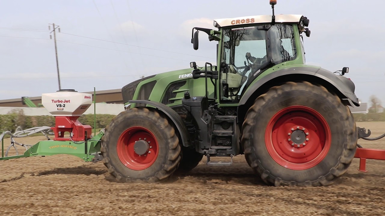 Front mounted grass seeder, 6m HDEX Roller & Fendt 828 - Cross Agricultural Engineering