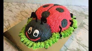 """Торт """"Божья Коровка"""" / Ladybug Cake / Кремовый Торт / З-D Торт / Пошаговый Рецепт / Авторский Рецепт"""