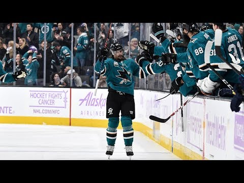 Erik Karlsson rifles home his first goal with the Sharks