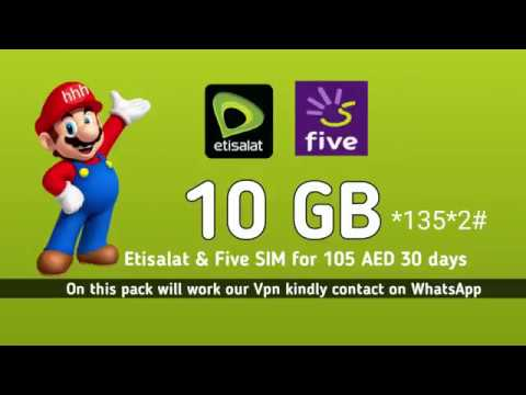 How To Activate ETISALAT & Five SIM 10 GB Packege for 30 Days in 105 AED
