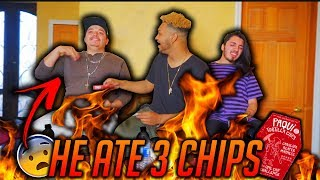 Friends Try Extreme Worlds Hottest Chip Challenge (He Ate 3 Chips)