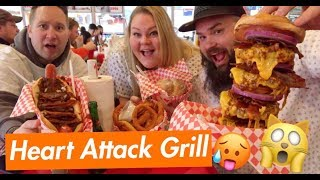 Heart Attack Grill Las Vegas MUKBANG! (Someone gets punished for not finishing their food LOL)