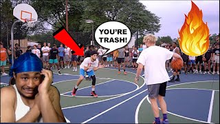 Trash Talker CLAPS In TJASS FACE Then Gets EXPOSED! 5v5 Basketball At The Park!