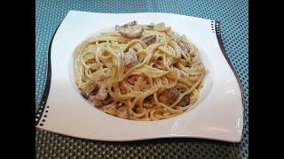 Спагетти с грибами и курицей. ОБЕД ЗА 20 минут! Pasta recipe