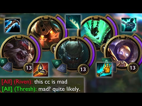 League of Legends but we have 5 hooks so the enemy just cannot move at all lool