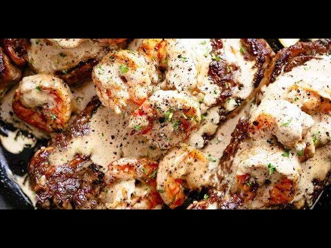 Steak With Creamy Garlic Shrimp