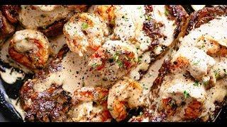 Steak With Creamy Garlic Shrimp
