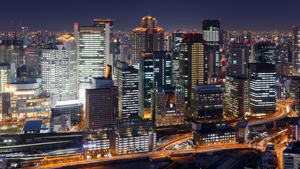 梅田スカイビル 空中庭園展望台からの大阪夜景 Night View from Umeda Sky Building Observatory Osaka Japan