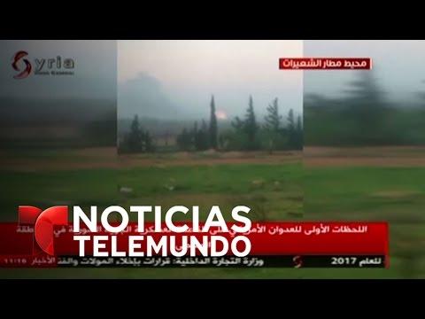 Televisión siria muestra ataque aéreo de EEUU contra su territorio | Noticias | Noticias Telemundo