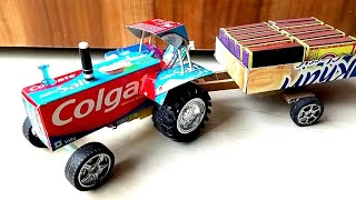 colgate box tractor trolley || how to make a colgate toy tractor || electric toy tractor