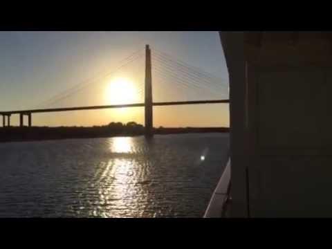Leaving Port of Jacksonville, Fla. at sunset