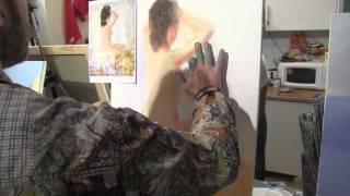 Уроки Сахарова, обнаженная девушка маслом на холсте, уроки рисования
