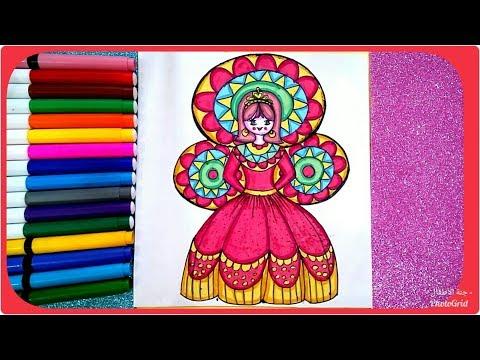 رسم عروسة المولد للأطفال وتلوينها ، رسم المولد النبوي ، تعليم الرسم للاطفال والمبتدئين خطوة بخطوة