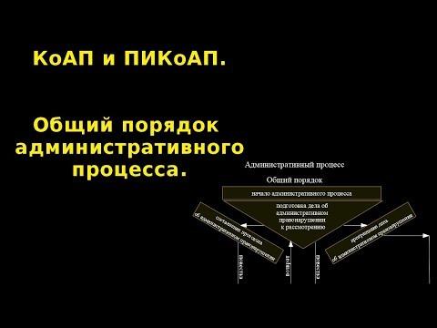 Общий порядок административного процесса. КоАП и ПИКоАП.