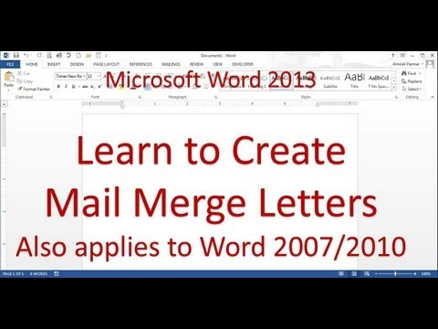 Mail Merge Letter (Word 2013/2016)