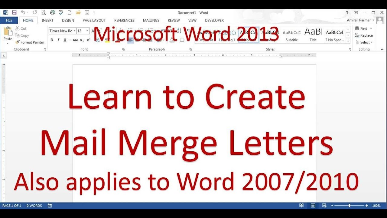Mail merge letter word 20132016 youtube spiritdancerdesigns Gallery