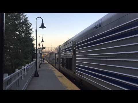 LIRR AM Peak Port Jefferson trains #604/605 thru #619 at Stony Brook - 9/18/15