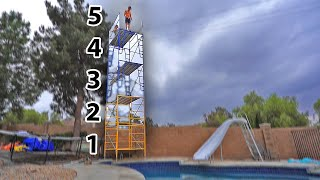 built-50ft-tower-in-backyard-waterpark-cliff-jumping