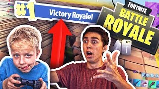 HELPING 8 YEAR OLD KID WIN HIS FIRST GAME!! Fortnite: Battle Royale