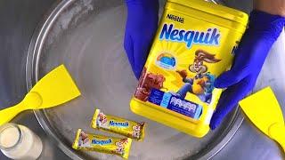 Ice Cream Rolls | how to make Nesquik Cocoa Ice Cream with chocolate bar & powder recipe | ASMR Food