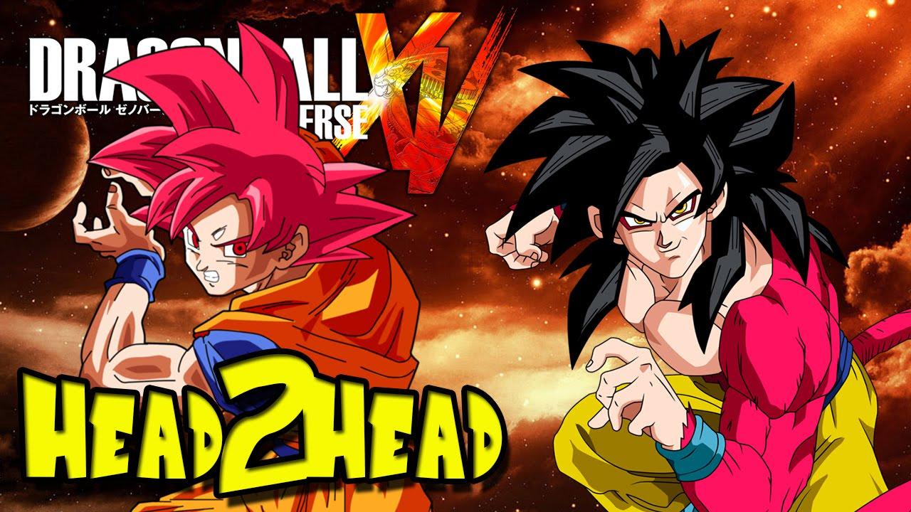 dbz head2head xenoverse super saiyan god goku vs super saiyan 4