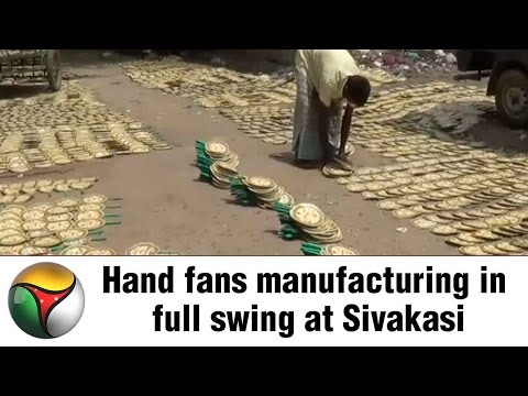 Hand fans manufacturing in full swing at Sivakasi
