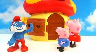 SWINKA PEPPA i wizyta u SMERFOW w domku Papy Smerfa. Smerfy to bajka dla dzieci