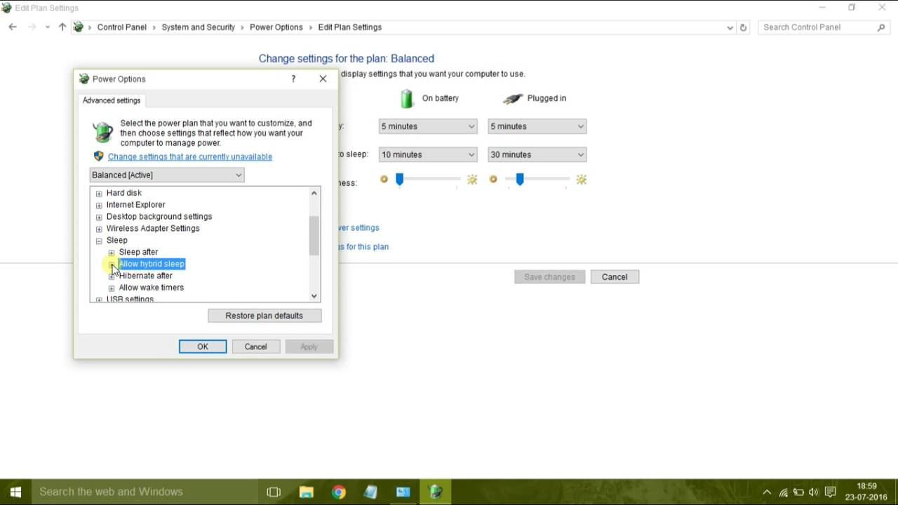 How To Turn On Off Hybrid Sleep In Windows 10 Tutorial