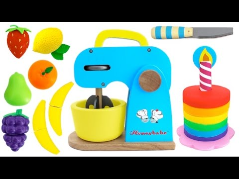 Thumbnail: Toy Mixer Playset Make a Play Doh Cake & Learn Fruits with Wooden Velcro Toys for Kids