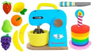 Toy Mixer Playset Make a Play Doh Cake & Learn Fruits with Wooden Velcro Toys for Kids