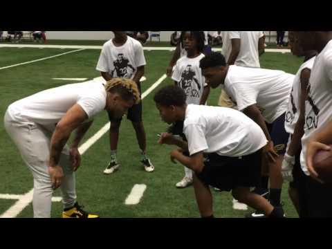 Watch Tyrann Mathieu run drills with campers