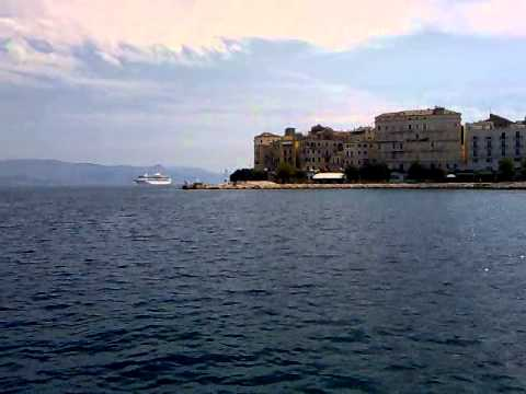 The old port and Mouragia area from the boat to Vidos island