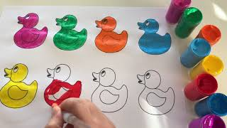 Learn Colors with Ducks Coloring Pages for Kids and Children Educational video for kids