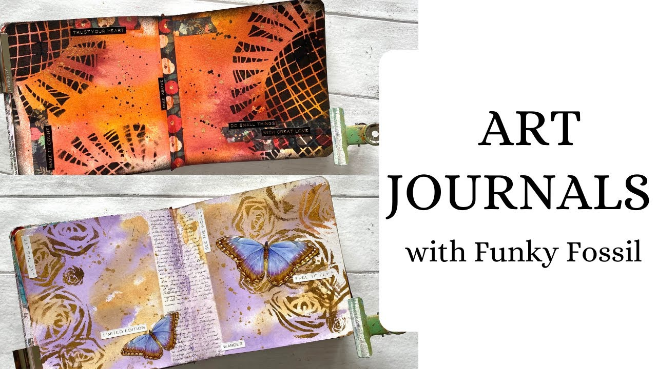 Art Journals with new stencils from Funky Fossil!! VERY EASY for BEGINNERS