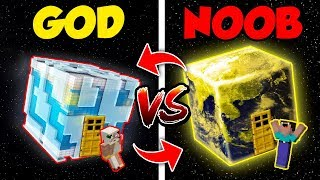 Minecraft NOOB vs. GOD: SWAPPED PLANET BLOCK HOUSE CHALLENGE in Minecraft (Compilation)
