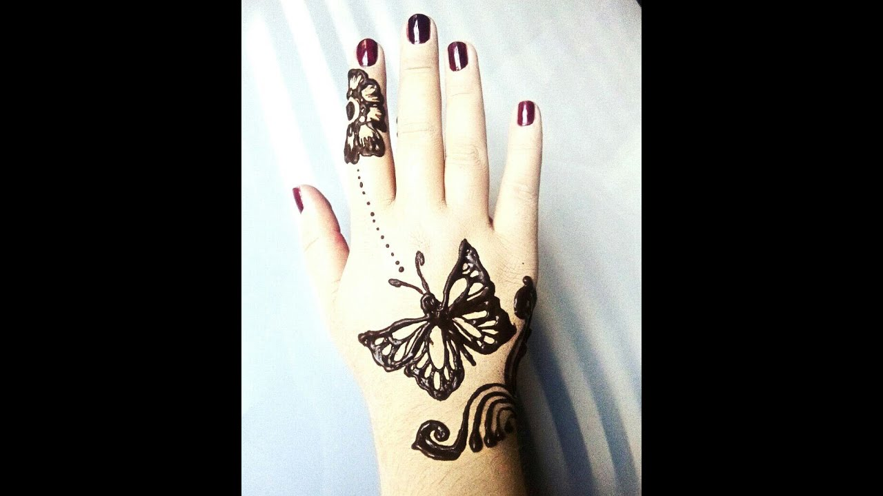Mehndi Tattoo Butterfly : Latest henna mehndi design cute butterfly youtube