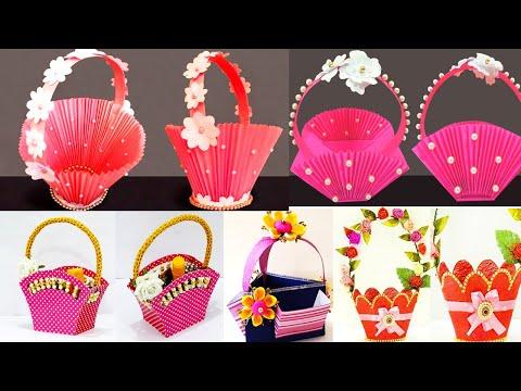 5 Easy Gift Basket Ideas - सीखे बहुत आसान पेपर बास्केट - DIY Paper Basket for Chocolates & Gifts