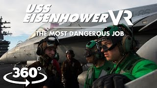 Intense and dangerous: Incredible VR views of active aircraft carrier flight deck thumbnail