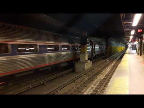 "Amtrak Train 233 w/ P32 #715 & Pullman ""Hickory Creek"" leaving New York Penn Station Track 7"