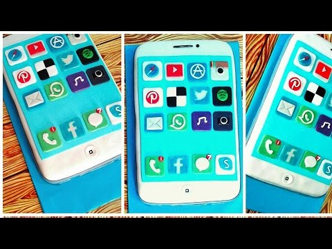 How to make IPHONE 7 Cake Handmade Icons with Fondant for IPHONE 7