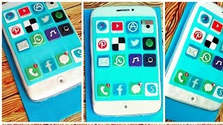 How to make IPHONE 7 Cake.  Handmade Icons with Fondant for IPHONE 7 Cake. Easy Baking