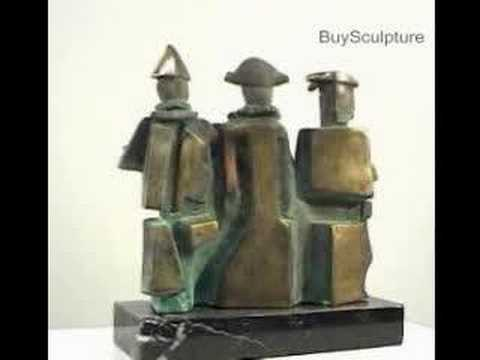 Three Cubist Musicians (Oxid. Green Bronze) - Sculpture