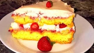 Клубничный торт.Бисквитный торт с клубникой.Пышный бисквит и сметанный крем + клубника Очень вкусно!