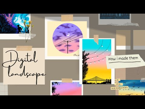 Digital landscape paintings for beginners   on ibis paint x   By: u.sketcher  .