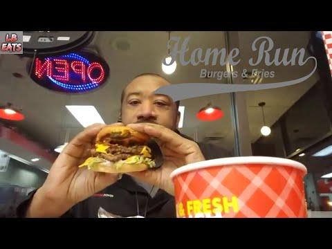 Bacon Double Cheeseburger   Enjoying Home Run Burger With Fresh Cut Fries   Mukbang