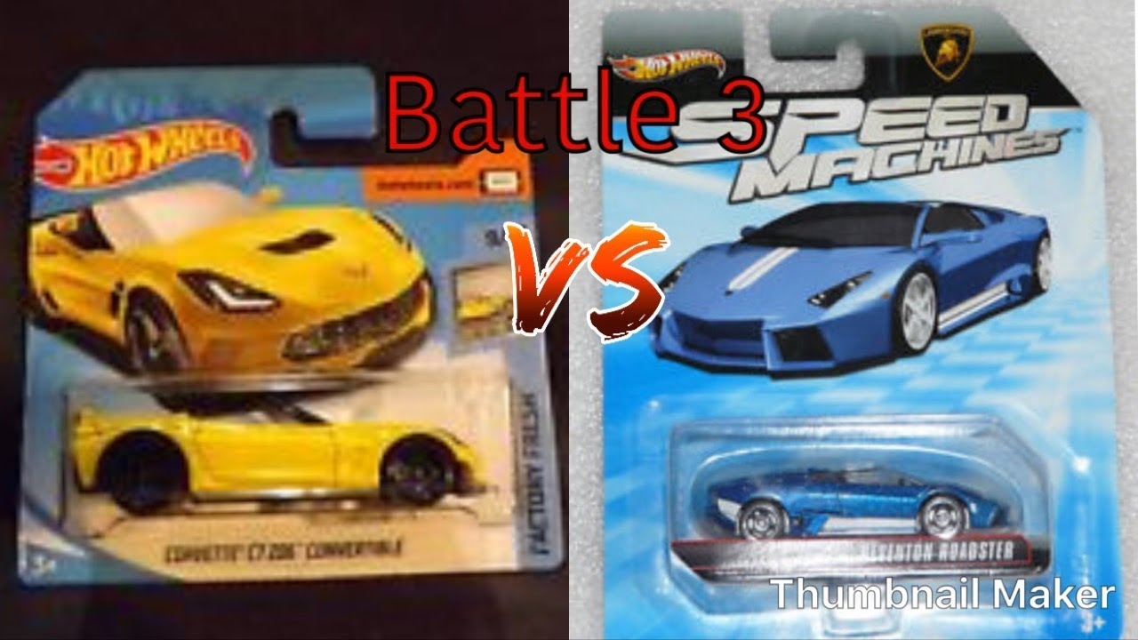 Hot Wheels Corvette C7 Z06 Convertible Vs Lamborghini Reventon