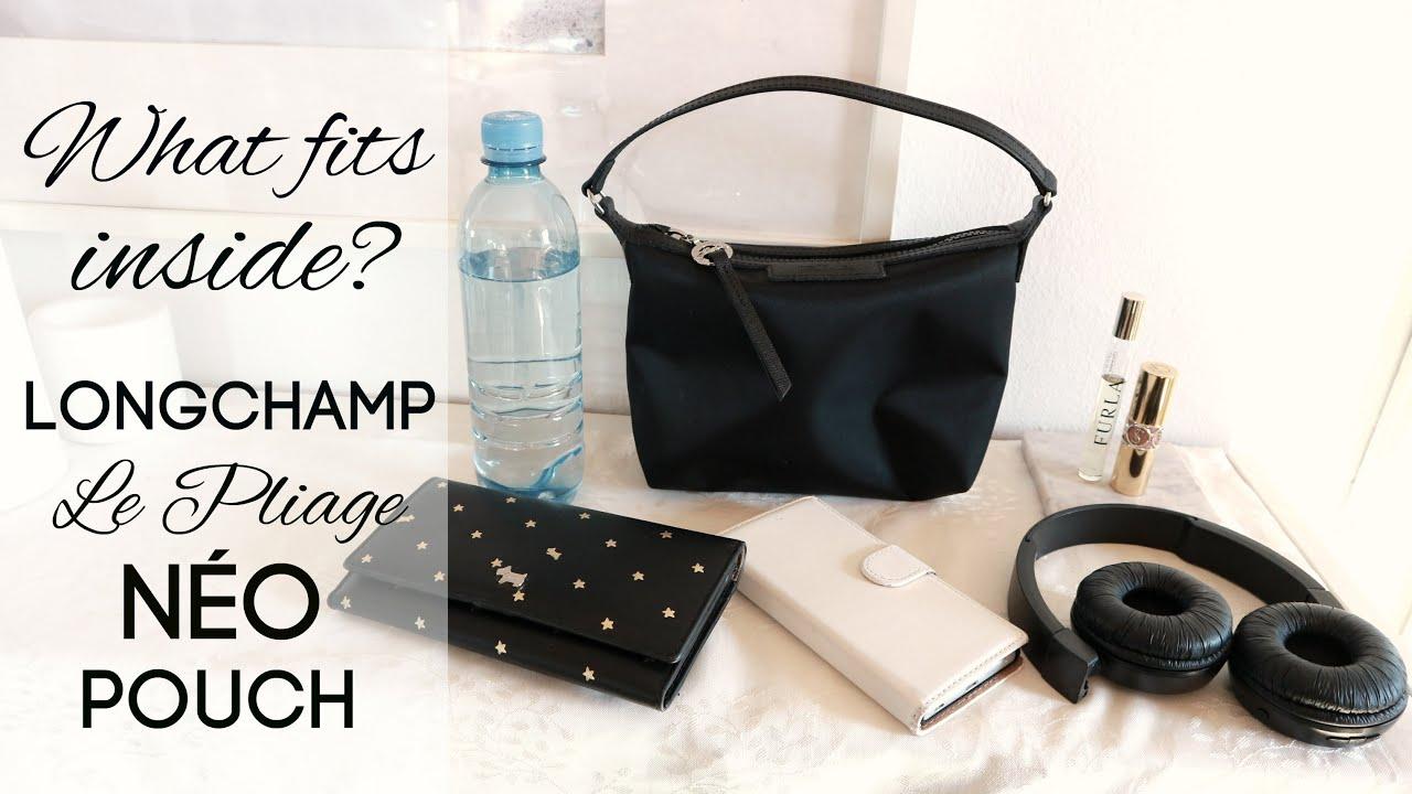 What fits inside the Longchamp Le Pliage Néo Pouch? (nylon shoulder bag)